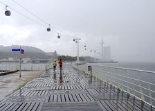 Free Walking Way At Tagus Riverside With Cable Car Railway In Parque Das Nacoes Stock Photo - 134941770