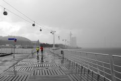 Free Walking Way At Tagus Riverside With Cable Car Railway In Parque Das Nacoes Stock Photos - 134941773