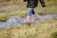 Walking in wellington boots Royalty Free Stock Photography