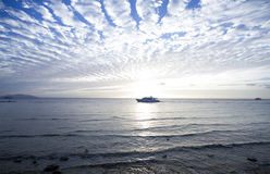 Walking white boat. Red Sea Royalty Free Stock Images