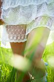 Walking in white dress Stock Images