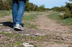 Walking at a winding footpath Royalty Free Stock Photo