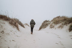 Walking on the winter beach Stock Photo