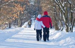 Walking through winter park Stock Photos