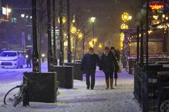 Walking in Winter Snow Storm royalty free stock photography