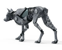 Walking Wolf Robot Back View. High Detailed Photo realistic Walking Wolf Robot Back View rendered in 3d aplication Stock Images