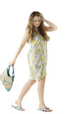 Walking woman in green dress Stock Photography