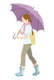 Walking woman has an Umbrella,Isolated Stock Images