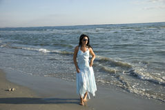 Free Walking Woman On Beach Royalty Free Stock Photography - 6351237
