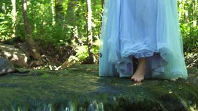 Walking woman traveling in the wild jungle forest with a dress and steps over the ground over the clean mountain river. stock footage