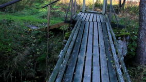 Walking on wooden bridge while water flowing under it. Through the small stream that has stone covered in moss stock footage