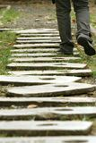 Walking on the wooden footpath Stock Photography
