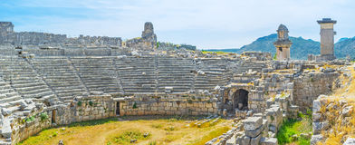 Walking in Xanthos. The walk along the stage of ancient theater of Xanthos, Turkey Stock Image
