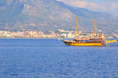 The walking yacht in a bay near Alanya. Turkey Royalty Free Stock Image