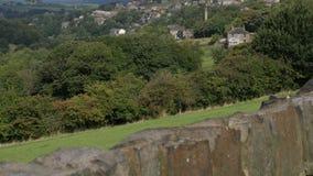 Walking on yorkshire moors Stock Image