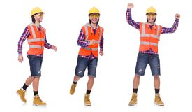 The walking young construction worker isolated on white. Walking young construction worker isolated on white Royalty Free Stock Photo