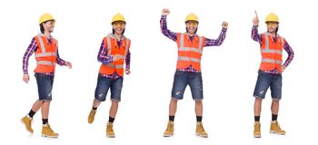 The walking young construction worker isolated on white. Walking young construction worker isolated on white Stock Photo