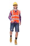 Walking young construction worker isolated on the. Walking young construction worker isolated on white Stock Image