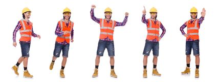 The walking young construction worker isolated on white. Walking young construction worker isolated on white Stock Image