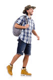 Walking young traveller isolated on white Royalty Free Stock Photography