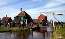 Walking in Zaanse Schans. Buildings, bridge and windmill in Zaanse Schans ethnographic museum in Netherlands stock images