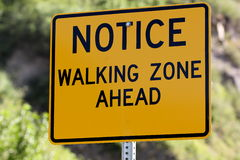 Walking Zone Ahead Sign Royalty Free Stock Photo