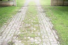 Walkingpath concret de pavé rond gris vers la porte ouverte avec l'herbe des côtés Photographie stock