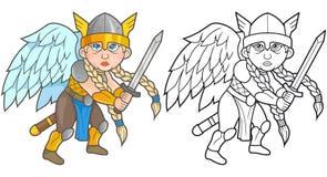 Walkiria kordzik w ręce, przygotowanej dla bitwy ilustracja wektor