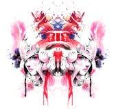 Walkiria w pięknym hełm symetrii świetle ilustracja wektor