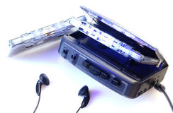 Walkman and audio tape isolated Royalty Free Stock Image