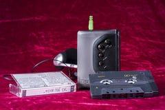 Walkman d'annata con nastro adesivo Fotografie Stock Libere da Diritti