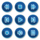 Walkman web icons, blue circle buttons Royalty Free Stock Image