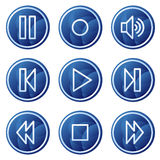 Walkman web icons, blue circle buttons series Stock Photos