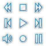 Walkman web icons, blue contour sticker series Royalty Free Stock Photo