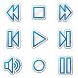 Walkman web icons, blue contour sticker series Royalty Free Stock Photo