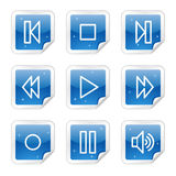 Walkman web icons, blue glossy sticker series Royalty Free Stock Photography