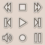 Walkman web icons, brown contour sticker series Royalty Free Stock Photo