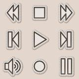 Walkman web icons, brown contour sticker series Royalty Free Stock Photo