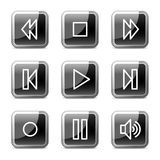 Walkman web icons, glossy buttons series. Walkman web icons, black square glossy buttons series Stock Photography