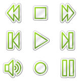 Walkman web icons, green contour sticker series Stock Images