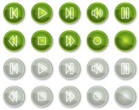 Walkman web icons, green and grey circle buttons Stock Photography