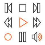 Walkman web icons, orange and gray contour series Royalty Free Stock Photo