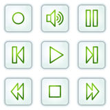 Walkman web icons, white square buttons series Stock Images