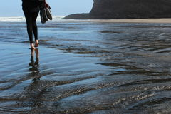 Walk the ocean. Conection of nature and man stock photos