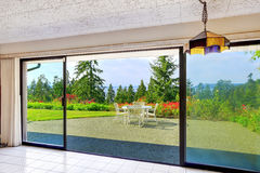 Walkout basement from living room overlooking beautiful view.  Stock Photos