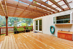 Walkout deck with attached pergola Stock Image