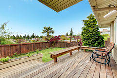 Walkout deck overlooking backyard Royalty Free Stock Images