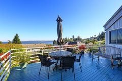 Walkout deck with patio area overlooking scenic bay view in Fede Stock Image