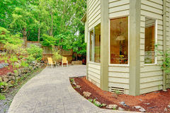 Walkout patio with sitting area Stock Photos