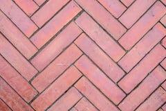 Walkpath-Bodenbelag vom Block des roten Backsteins Stockfotos